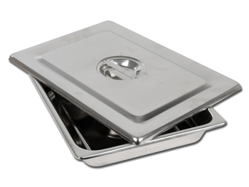 VASSOIO + COPERCHIO INOX - 355 x 254 x 50 mm
