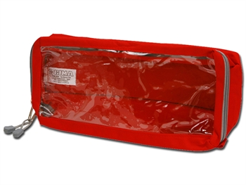 E4 RECTANGULAR POUCH long with window - red