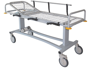 PROFESSIONAL PATIENT TROLLEY with side rails and oxygen cylinder holder
