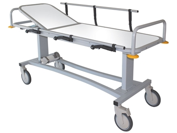 PROFESSIONAL RX PATIENT TROLLEY with side rails and oxygen cylinder holder