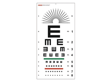 "TUMBLING ""E"" OPTOMETRIC CHART - 6 m - 28x56 cm"