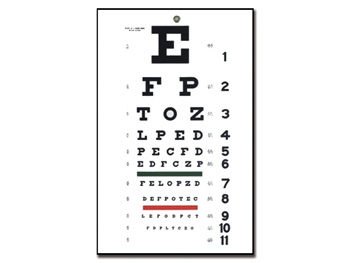 TRADITIONAL SNELLEN OPTOMETRIC CHART - 6 m - 28x56 cm