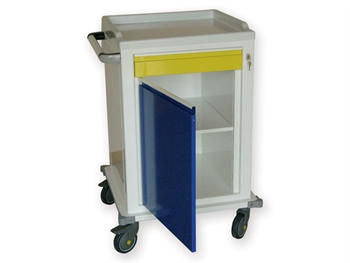 MODULAR TROLLEY painted steel with 1 drawer + 1 shelf